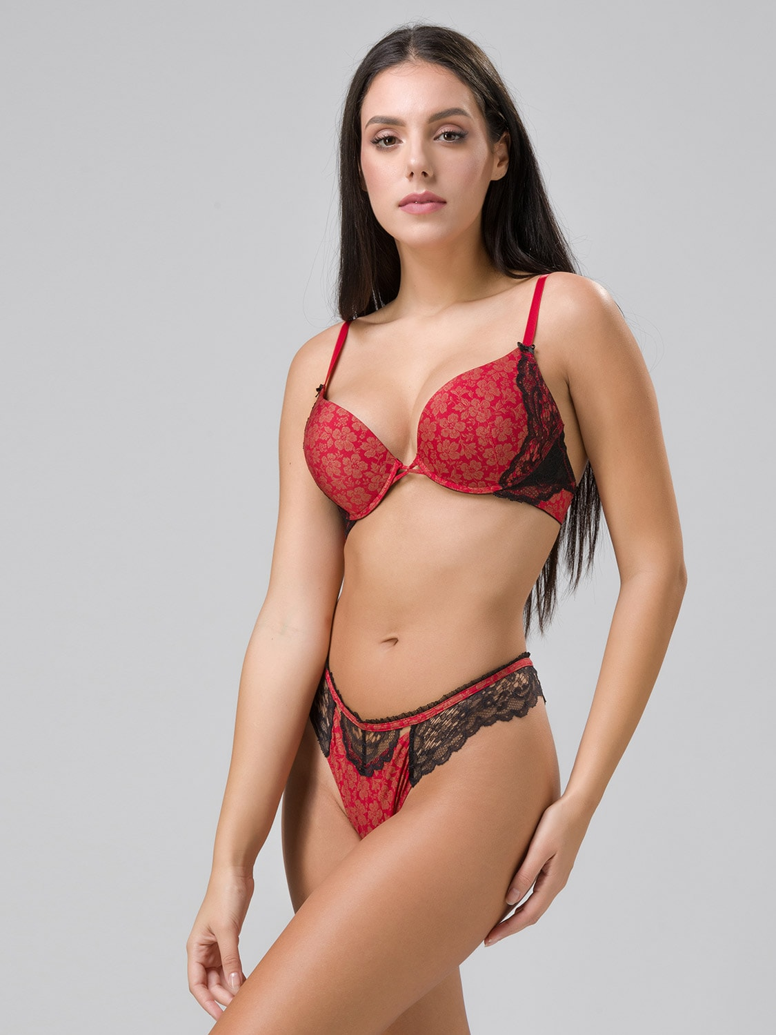 Burlesque 14102 super push-up & 24100 string red side